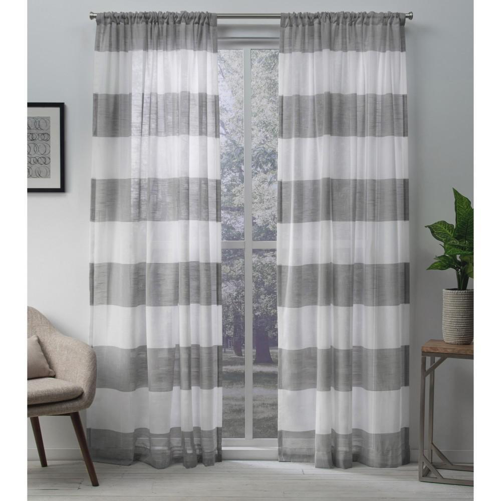 Darma 50 in. W x 96 in. L Sheer Rod Pocket Top Curtain Panel in Black Pearl (2 Panels)