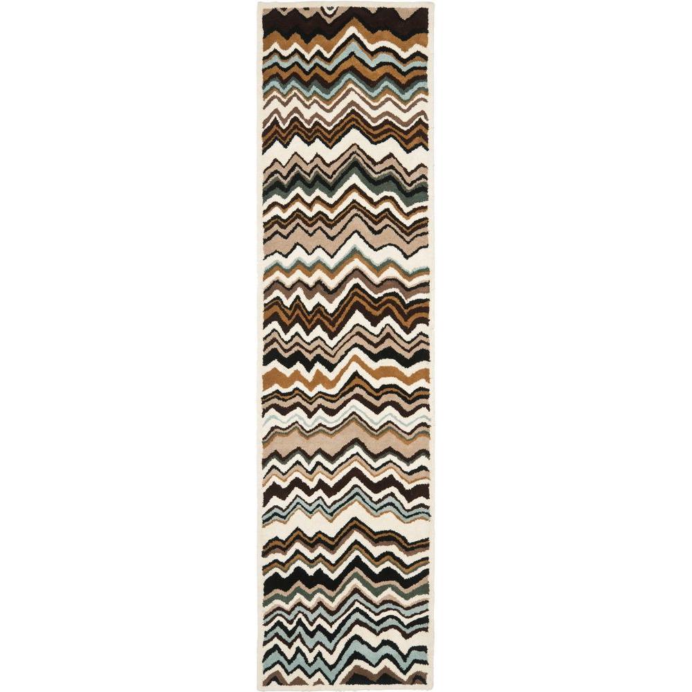 Wyndham Brown/Multi 2 ft. x 9 ft. Runner Rug