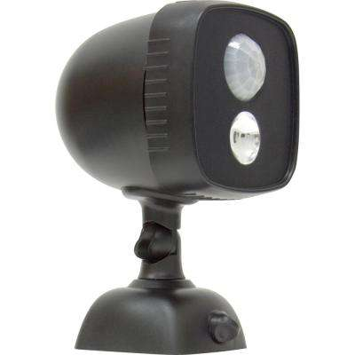 Battery power gear motion sensing outdoor security lighting 25 watt 110 black battery operated wireless motion activated outdoor integrated led spot aloadofball Image collections