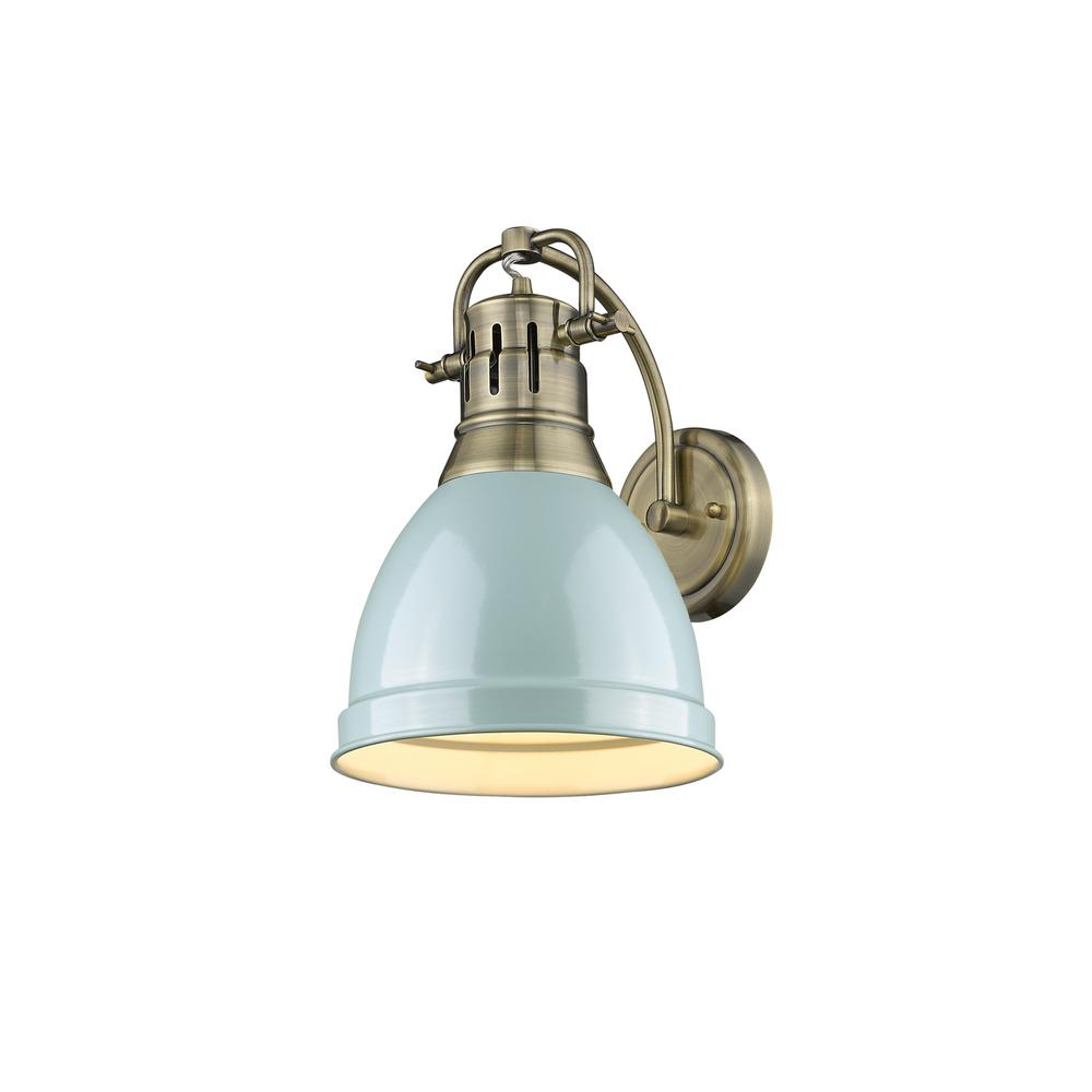 Golden Lighting Duncan AB 1-Light Aged Brass Sconce with Seafoam Shade