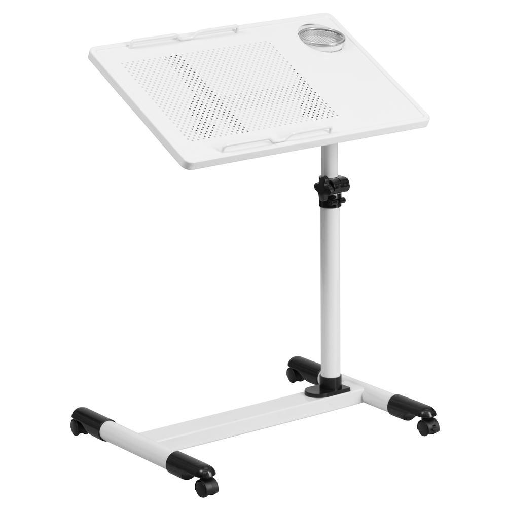 Flash Furniture White Adjustable Height Steel Mobile Computer Desk NANJG06BWH