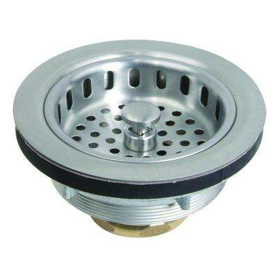3-1/2 in. Post Style Basket Strainer with Nut and Washer in Stainless Steel