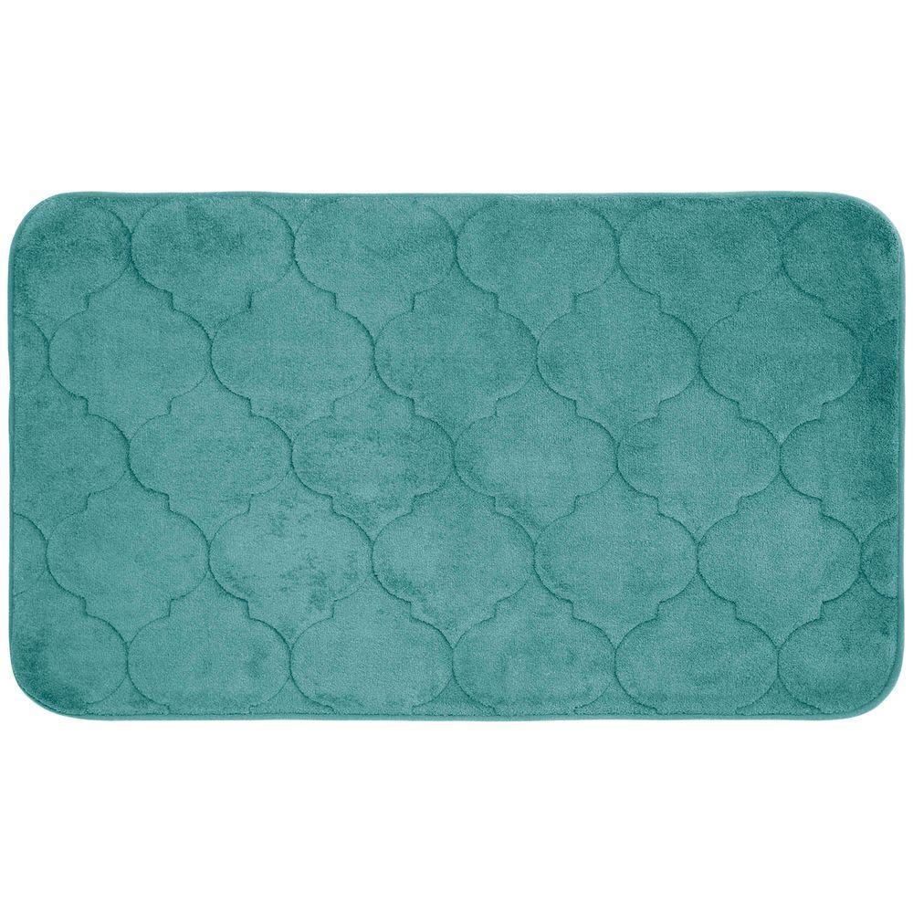 Faymore Marine Blue 20 in. x 34 in. Memory Foam Bath Mat