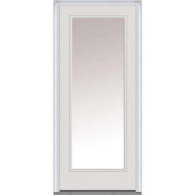 32 in. x 80 in. Left-Hand Inswing Full Lite Clear Classic Primed Fiberglass Smooth Prehung Front Door