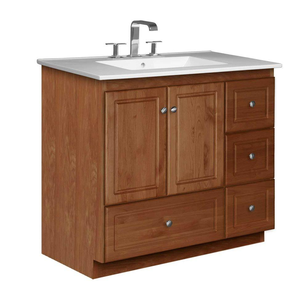 Simplicity by Strasser Ultraline 37 in. W x 22 in. D x 35 in. H Vanity with Right Drawers in Medium Alder with Ceramic Vanity Top in White