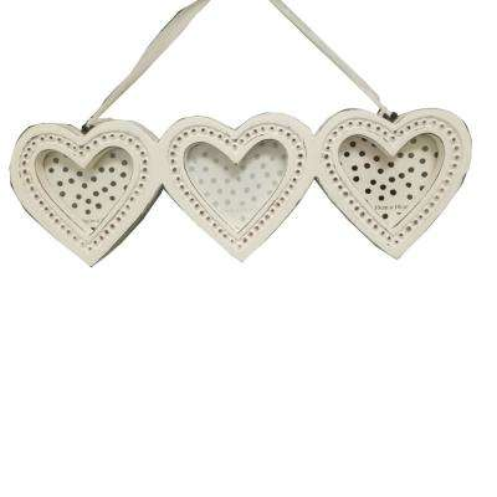 Splendid 4 in. x 4 in. White Wooden Heart Shape Photo Frame (Set of 3)