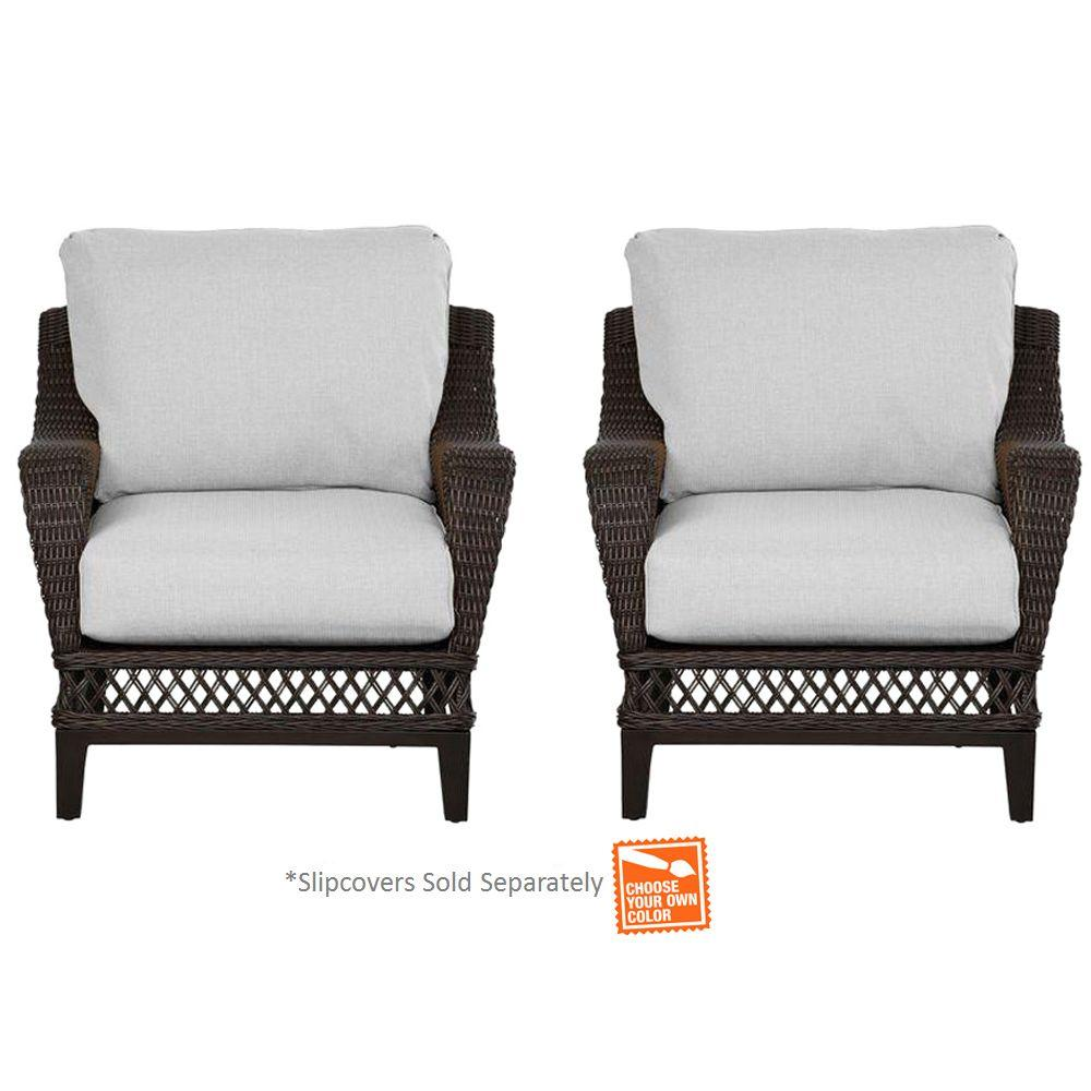 Hampton Bay Woodbury Wicker Outdoor Patio Lounge Chair With Cushion Insert  (2 Pack)