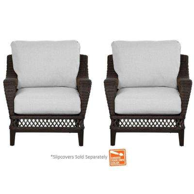 Woodbury Wicker Outdoor Patio Lounge Chair with Cushions Included, Choose Your Own Color (2-Pack)