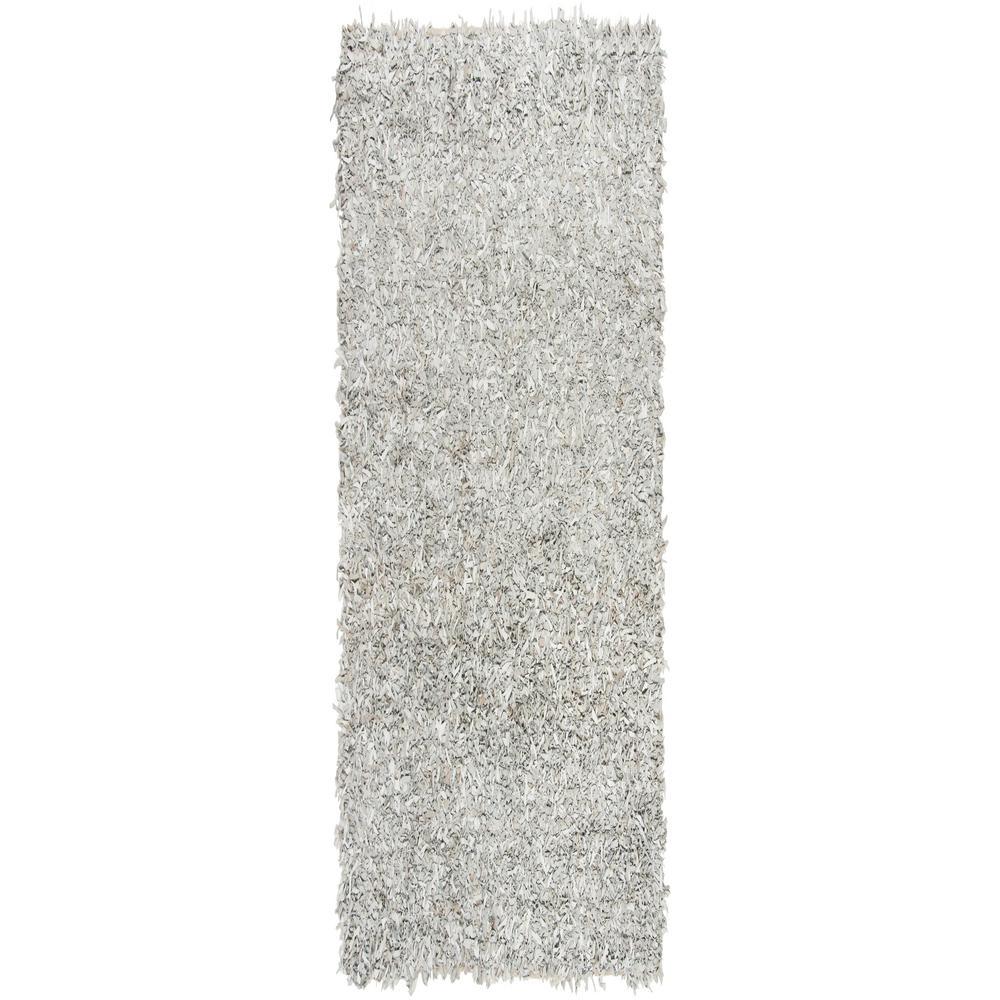 Leather Shag Gray/White 2 ft. x 8 ft. Runner