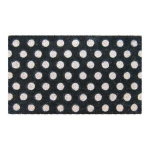 Entryways White Polka Dots 18 inch x 30 inch Hand Woven Coir Door Mat by Entryways