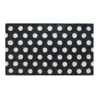 White Polka Dots 18 in. x 30 in. Hand Woven Coir Door Mat