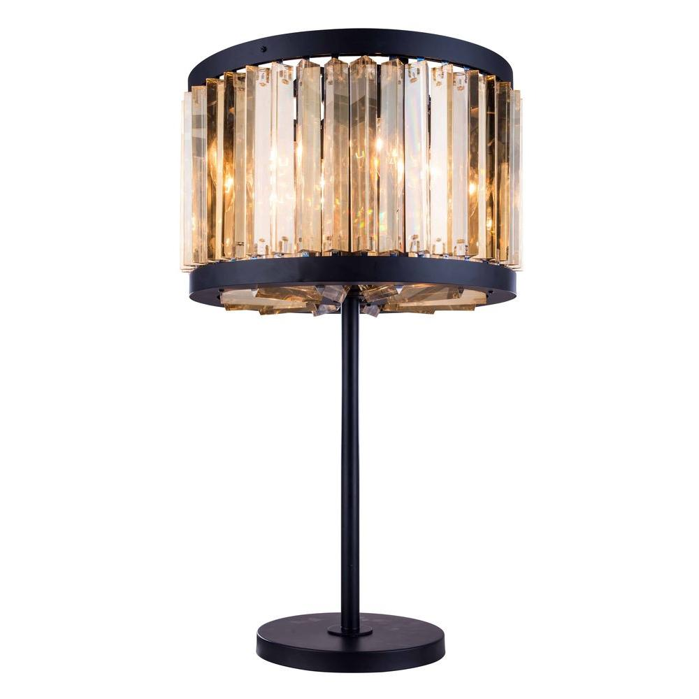 Chelsea 32 in. Mocha Brown Table Lamp with Golden Teak Smoky
