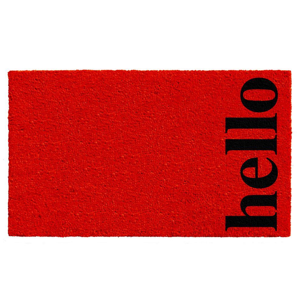 Vertical Hello Red/Black 17 in. x 29 in. Door Mat