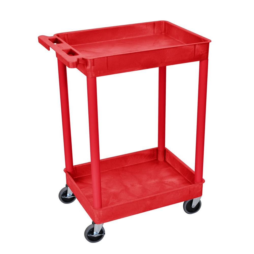 18 in. x 24 in. 3-Tub Shelf Utility Cart, Red