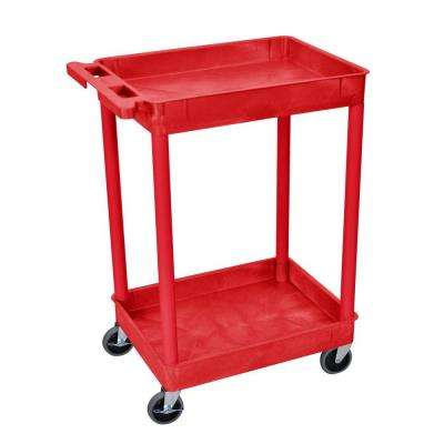 18 in. x 24 in. 2-Tub Shelf Utility Cart, Red