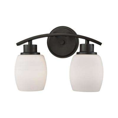 Casual Mission 2-Light Oil Rubbed Bronze with White Lined Glass Bath Light