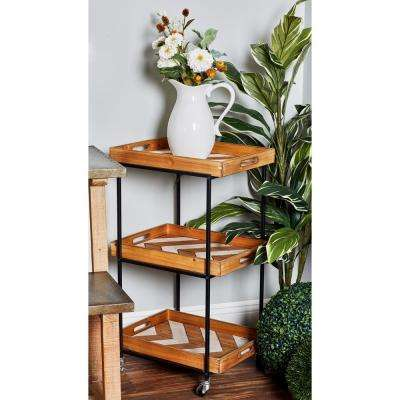 Natural Brown 3-Tier Rectangular Tray Cart with Chevron Design