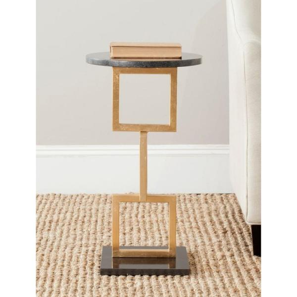 Safavieh Cassidy Gold and Black Marble Top End Table FOX2531A
