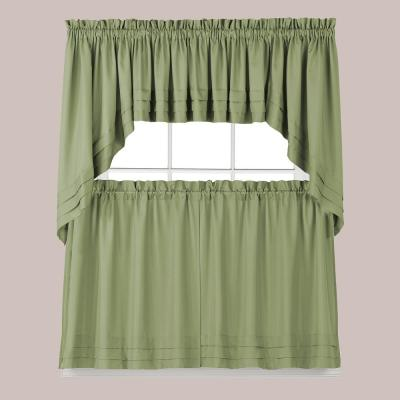 Holden 36 in. L Polyester Tier Curtain in Sage (2-Pack)