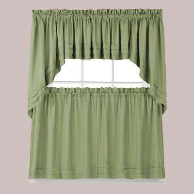 Semi-Opaque Holden 36 in. L Polyester Tier Curtain in Sage (2-Pack)