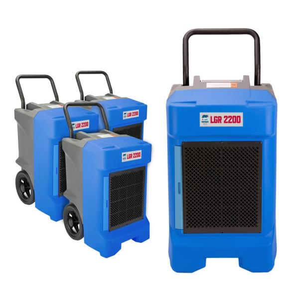 VG-2200 225 Pint Commercial LGR Dehumidifier for Water Damage Restoration Equipment Mold Remediation in Blue (4-Pack)