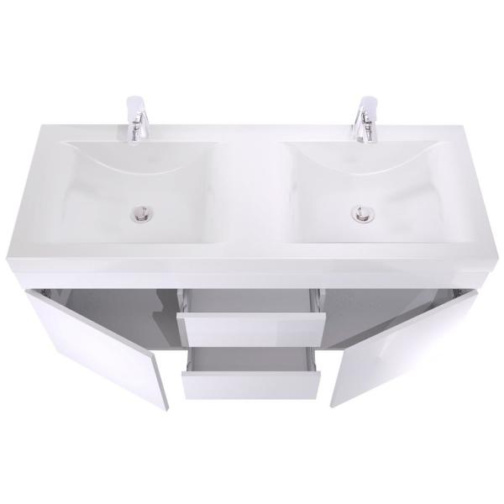 Reviews For Lift Bridge Kitchen Bath Viteli Siena 48 In W X 19 In D Bath Vanity In White With Cultured Marble Vanity Top In White With Double White Basin