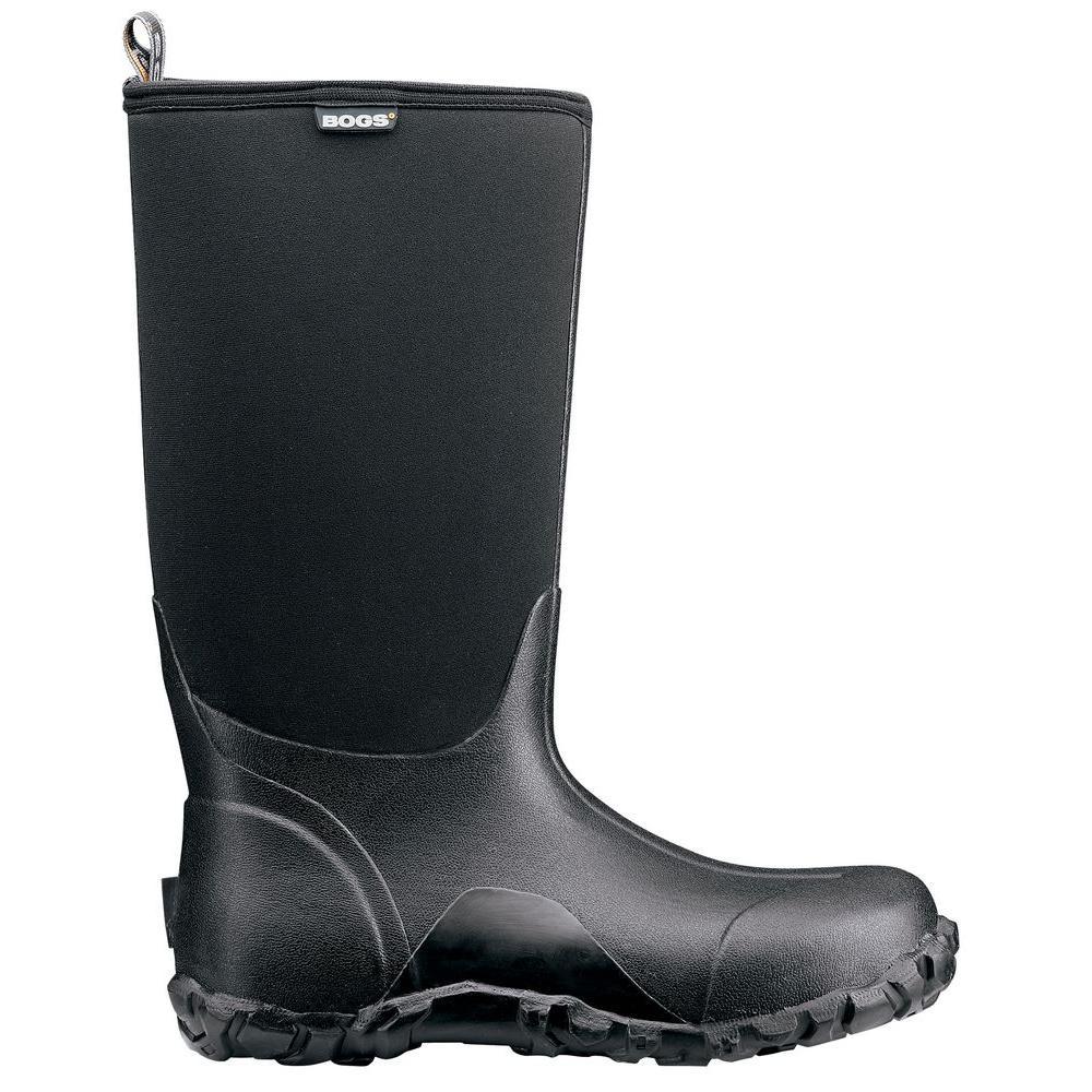 Classic High Men 14 in. Size 8 Black Rubber with Neoprene Waterproof Boot