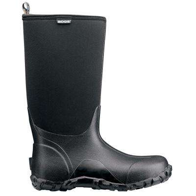 Classic High Men 14 in. Size 10 Black Rubber with Neoprene Waterproof Boot