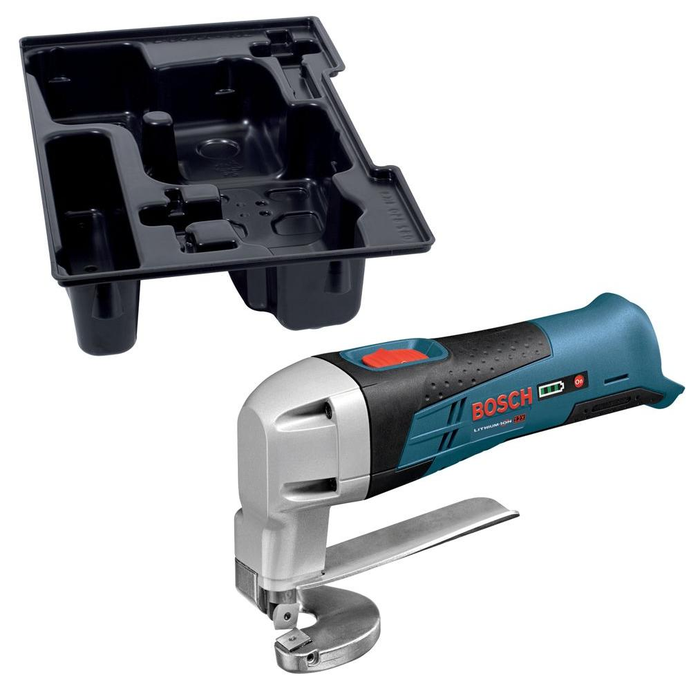 Bosch 12-Volt Max Lithium-Ion Cordless Metal Shear with Exact-Fit Insert Tray (Bare Tool)