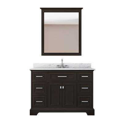 Laxton 49 in. W x 22 in. D Bath Vanity in Espresso with Marble Vanity Top in White with White Basin and Mirror