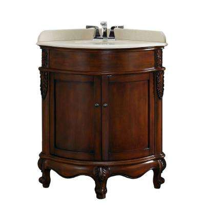 32.75 in. W x 25.70 in. D Vanity in Dark Cherry with Marble Vanity Top in Cream with White Basin
