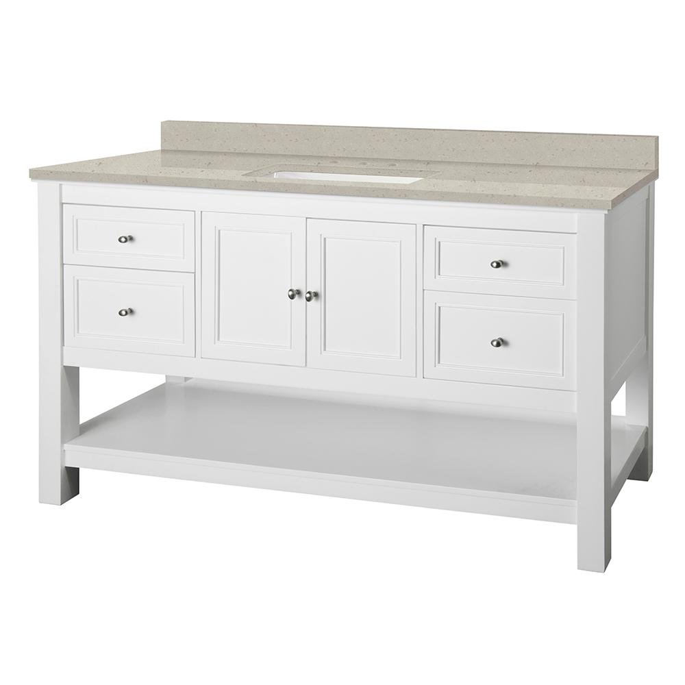 Home Decorators Collection Gazette 61 in. W x 22 in. D Vanity Cabinet in White with Engineered Quartz Vanity Top in Stoneybrook with White Sink