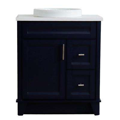 31 in. W x 22 in. D Single Bath Vanity in Blue with Quartz Vanity Top in White with White Round Basin