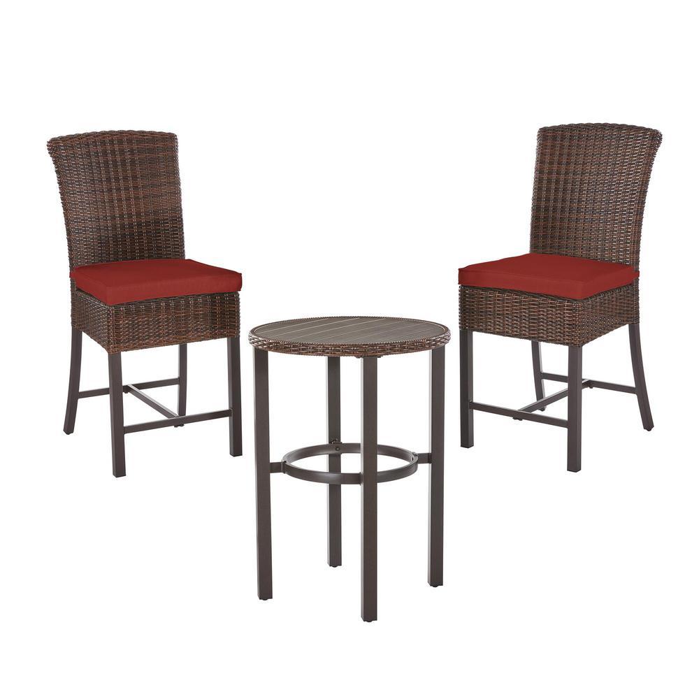 Harper Creek Brown 3-Piece Steel Outdoor Patio Bar Height Dining Set with Sunbrella Henna Red Cushions