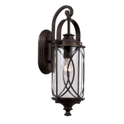 1-Light Oil Rubbed Bronze Outdoor Wall Lantern Sconce