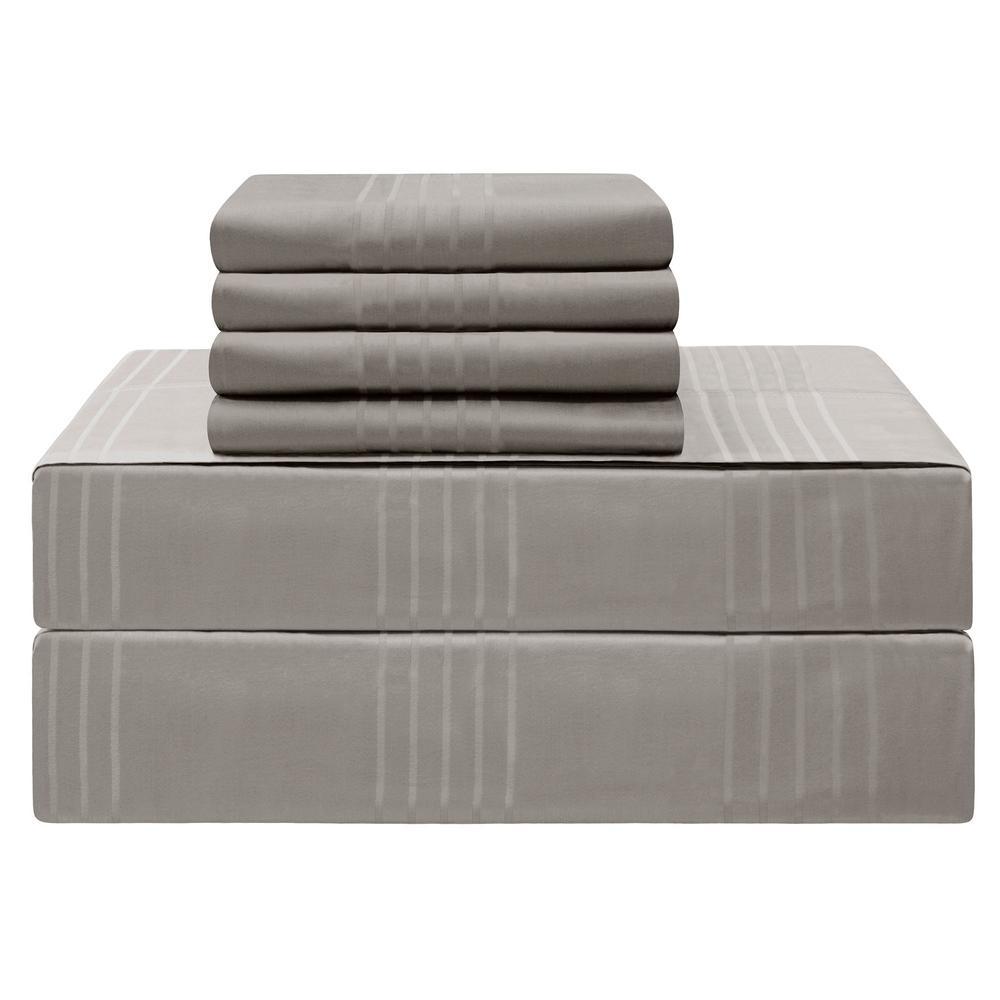 Premium King 6-Piece Charcoal 420-Thread Count 100% Cotton Sheet Set