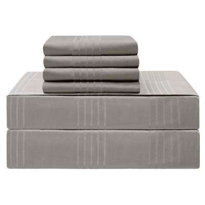 Premium King 6-Piece Charcoal 420-Thread Count 100% Cotton Sheet Set