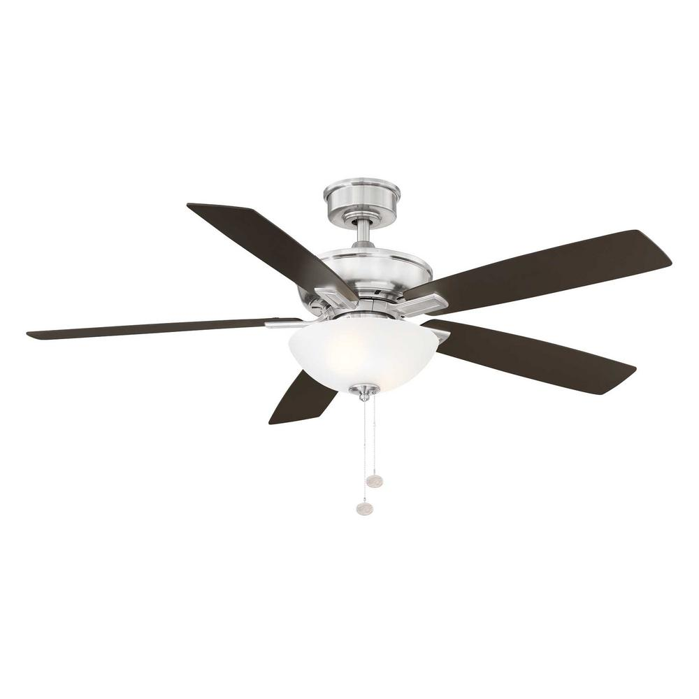 Hampton Bay Blakeford 54 in LED Brushed Nickel DC Motor Ceiling Fan with Light