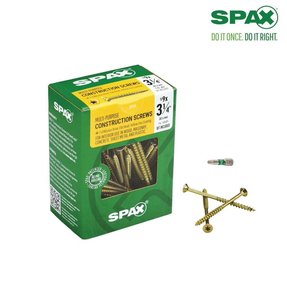 #9 x 3-1/4 in. T-Star Plus Drive Flat-Head Partial Thread Yellow Zinc Coated Multi-Material Screw (89-Box)