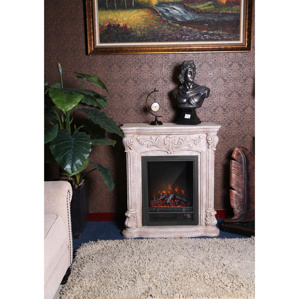 Luxen Home Polystone Roma 33 2 In Freestanding Electric Fireplace