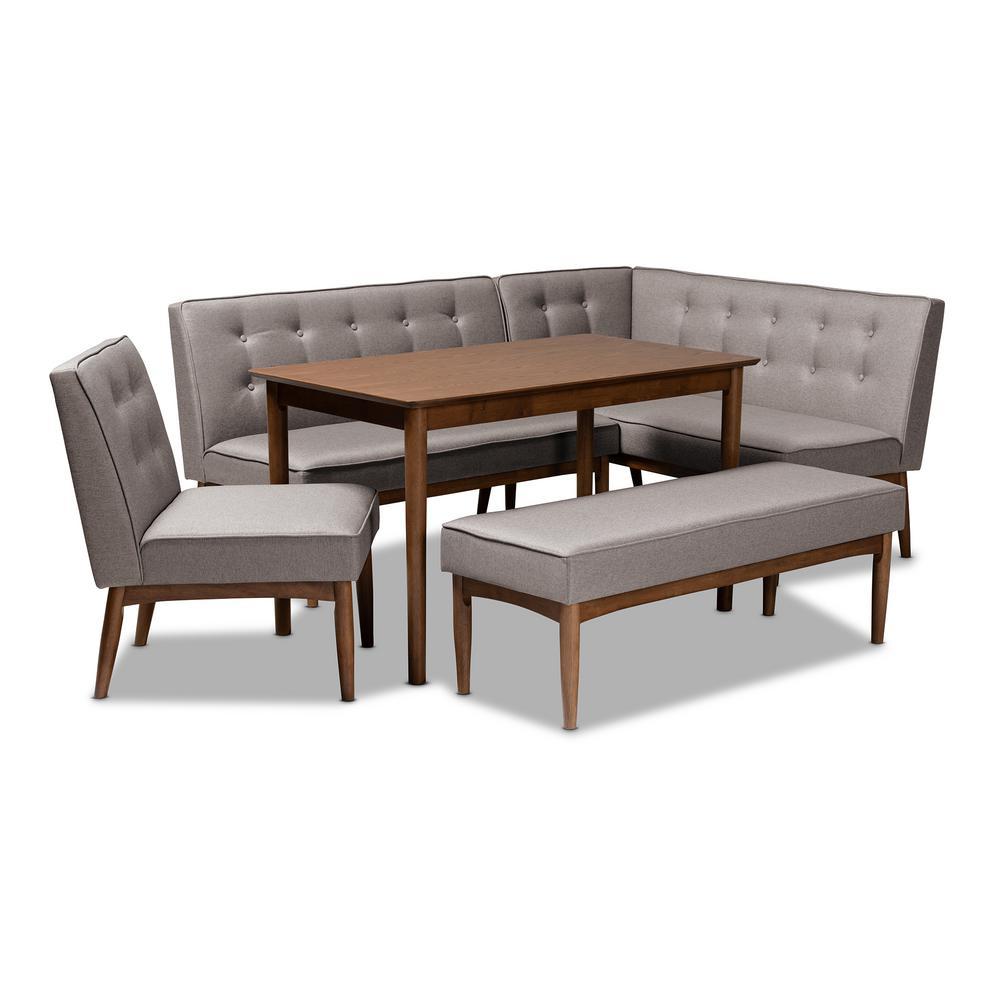 Surprising Baxton Studio Arvid 5 Piece Gray Dining Nook Set 155 Ibusinesslaw Wood Chair Design Ideas Ibusinesslaworg