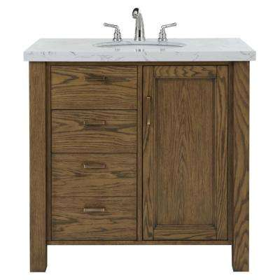 Stanford 36 in. W Single Bath Vanity in Aged Oak with Faux Marble Vanity Top in White with White Sink