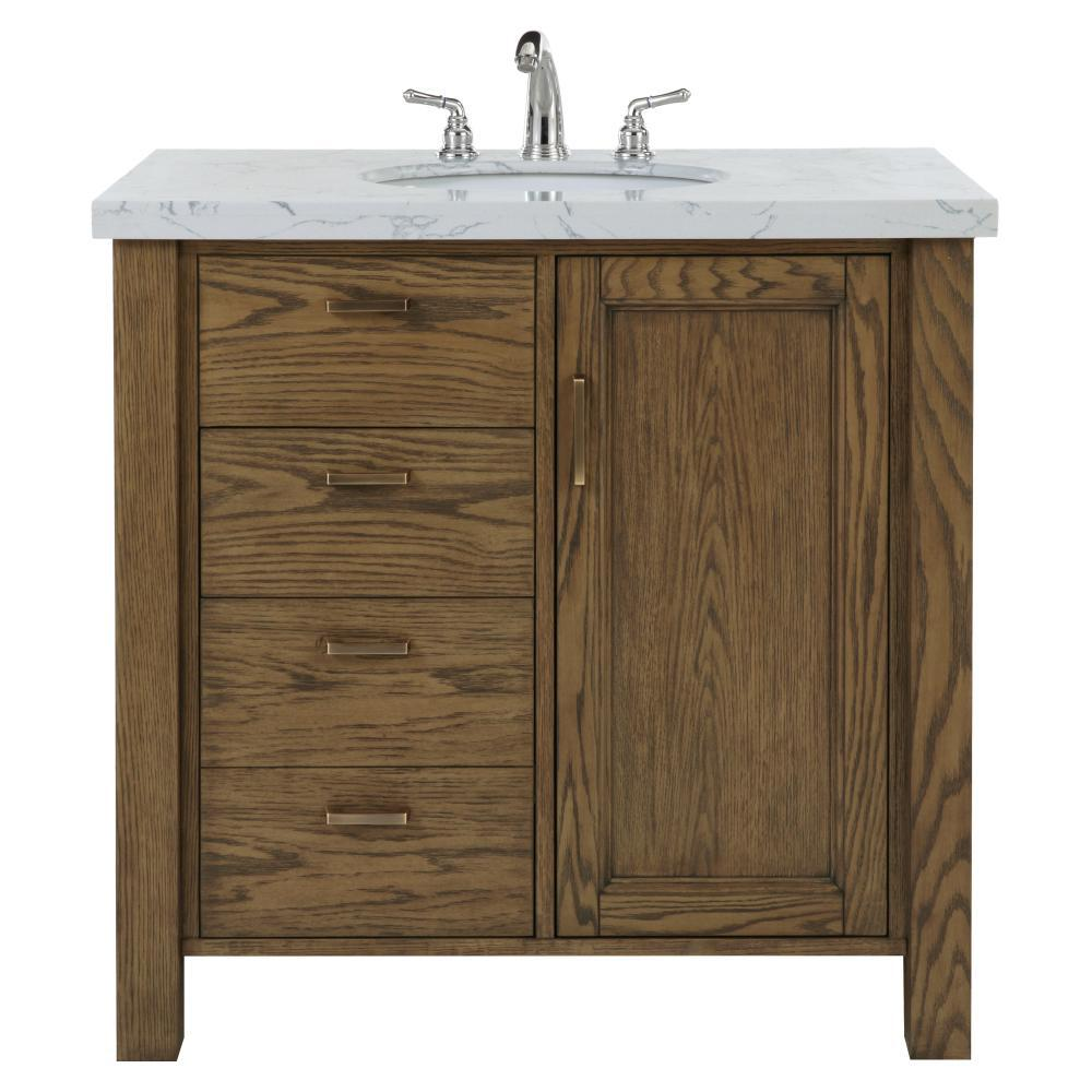 Home Decorators Collection Stanford 36 In W Single Bath Vanity In Aged Oak With Faux Marble