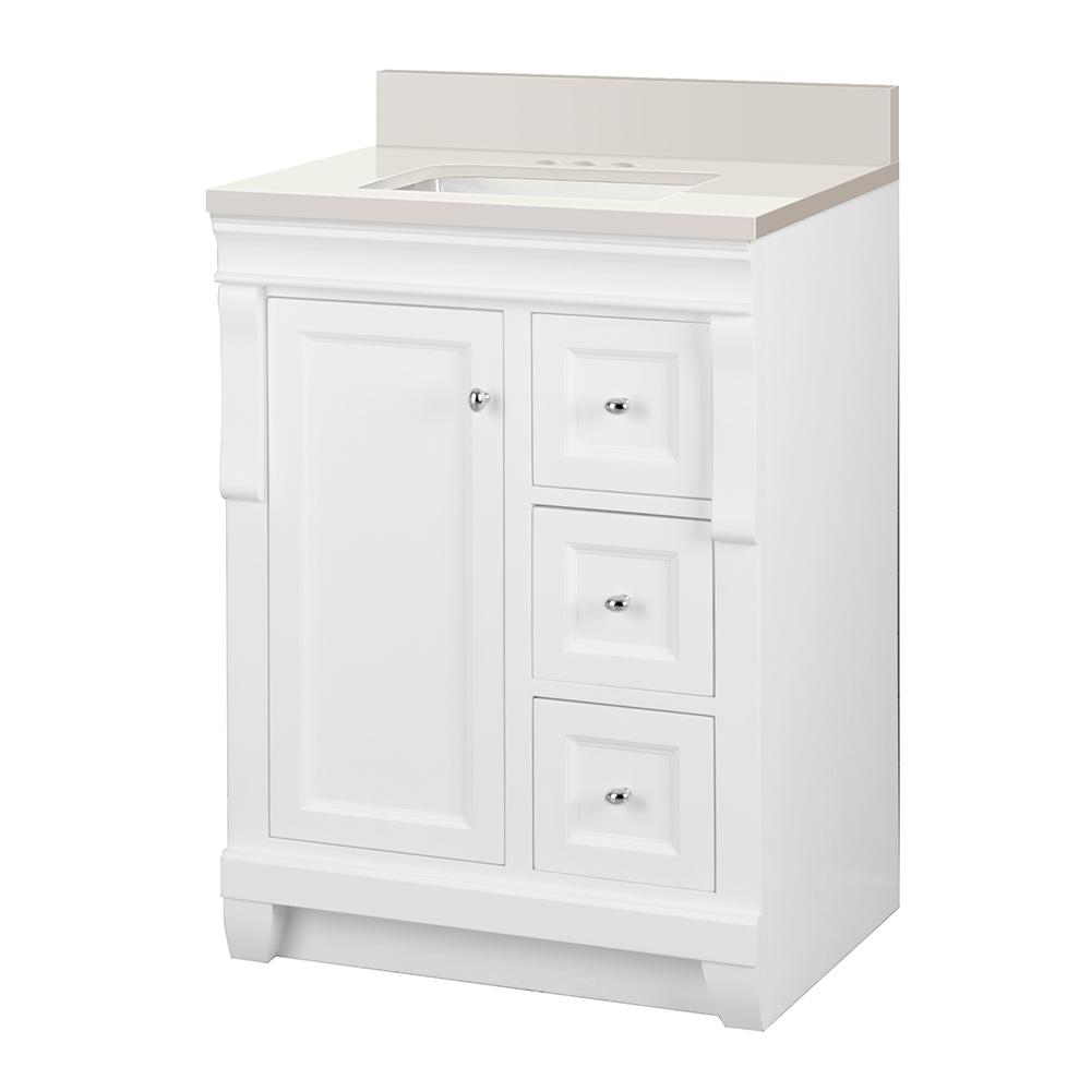 Home Decorators Collection Naples 25 in. W x 22 in. D Vanity in White with Engineered Marble Vanity Top in Winter White with White Sink