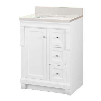 Naples 25 in. W x 22 in. D Vanity in White with Engineered Marble Vanity Top in Winter White with White Sink