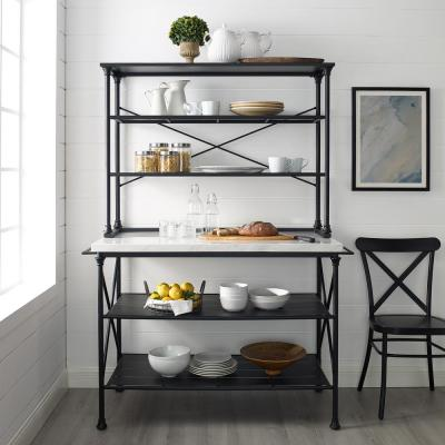 Madeleine Black Kitchen Island with Hutch