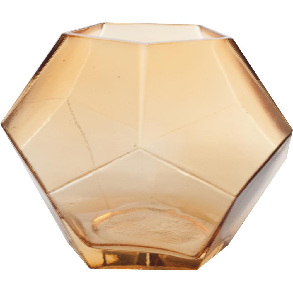 Mika 7.5 in. W x 6 in. H Amber Glass Pentagon Prism Terrarium