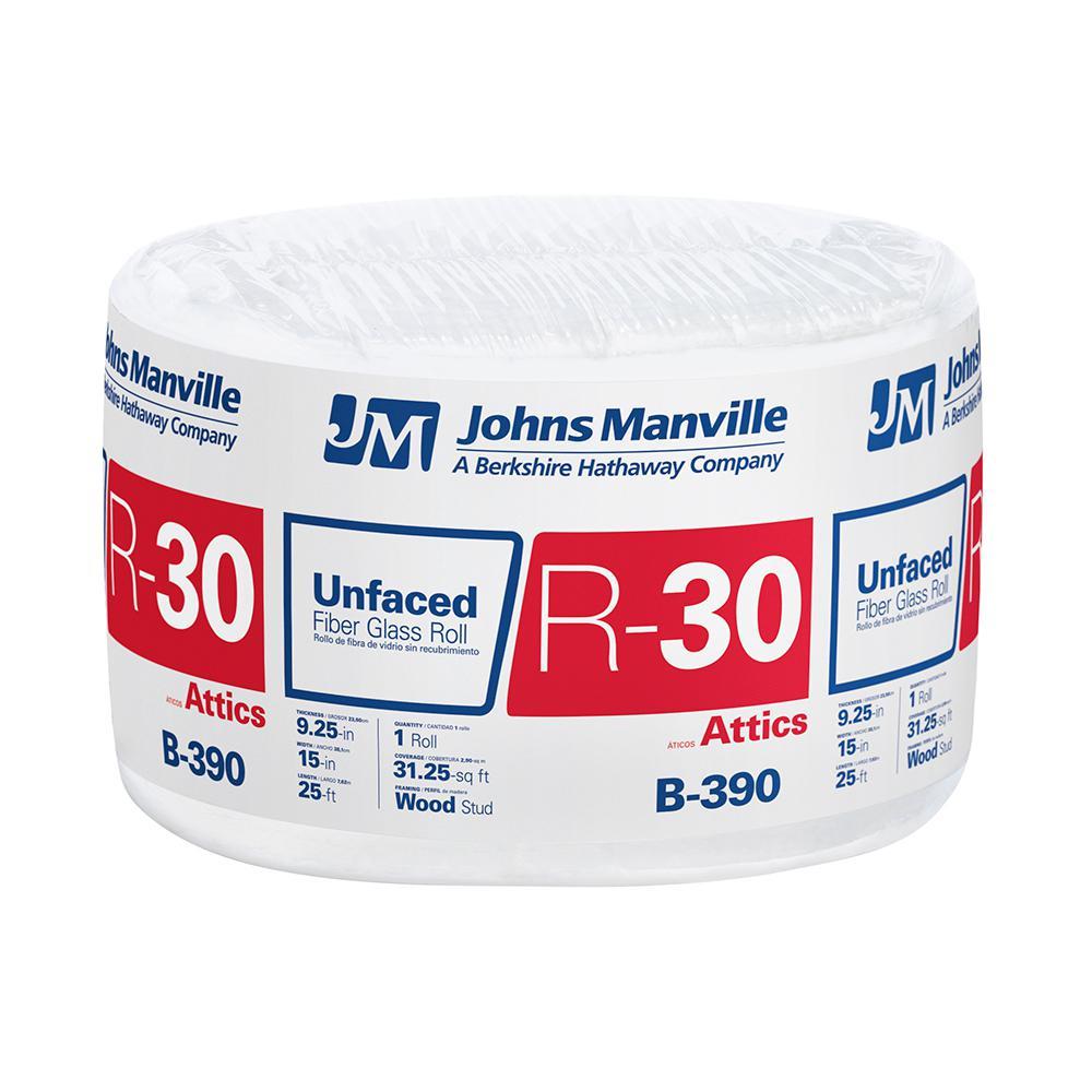R-30 Unfaced Fiberglass Insulation Roll 15 in. x 25 ft.