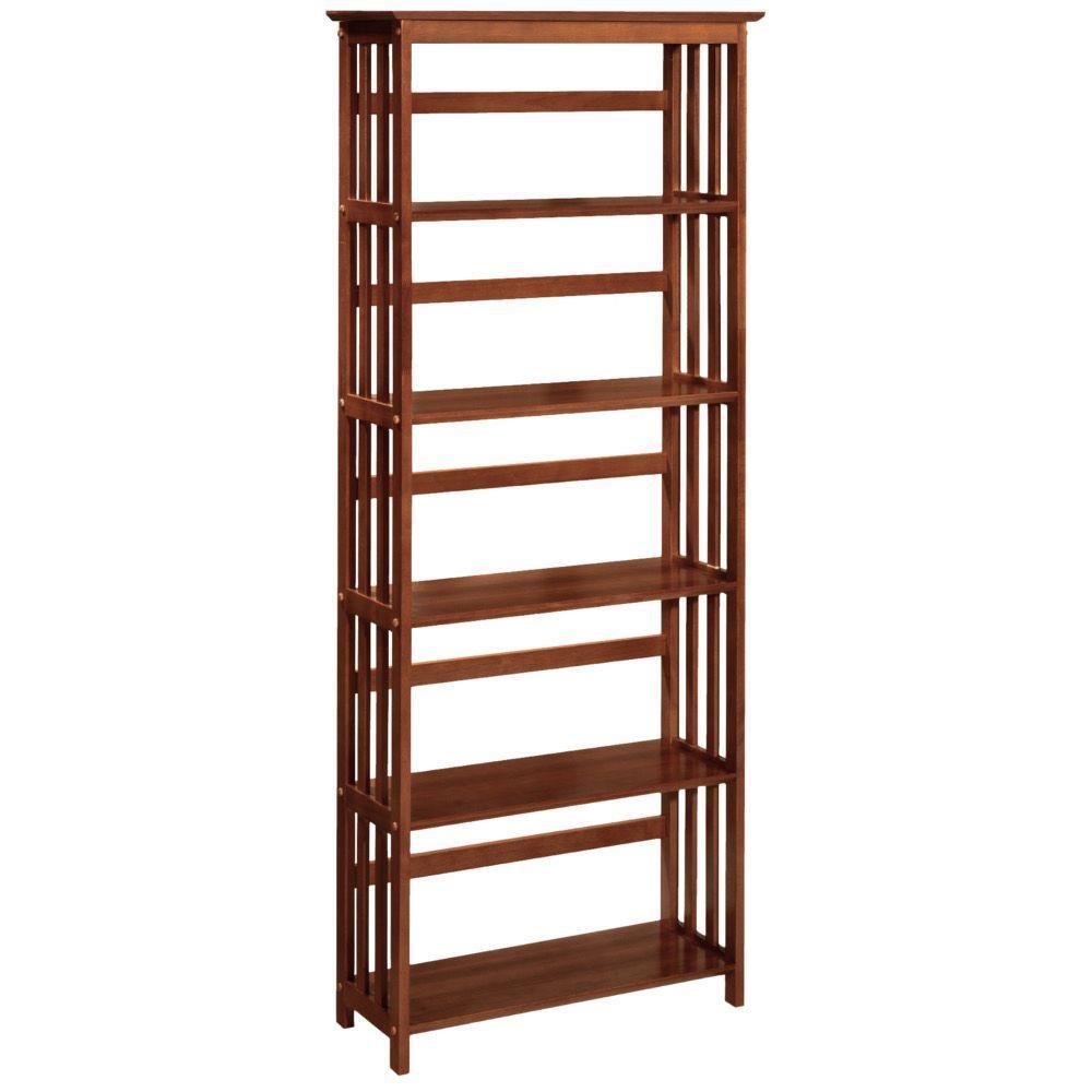 Home Decorators Collection Mission-Style 5-Open Shelf Bookshelf in Walnut