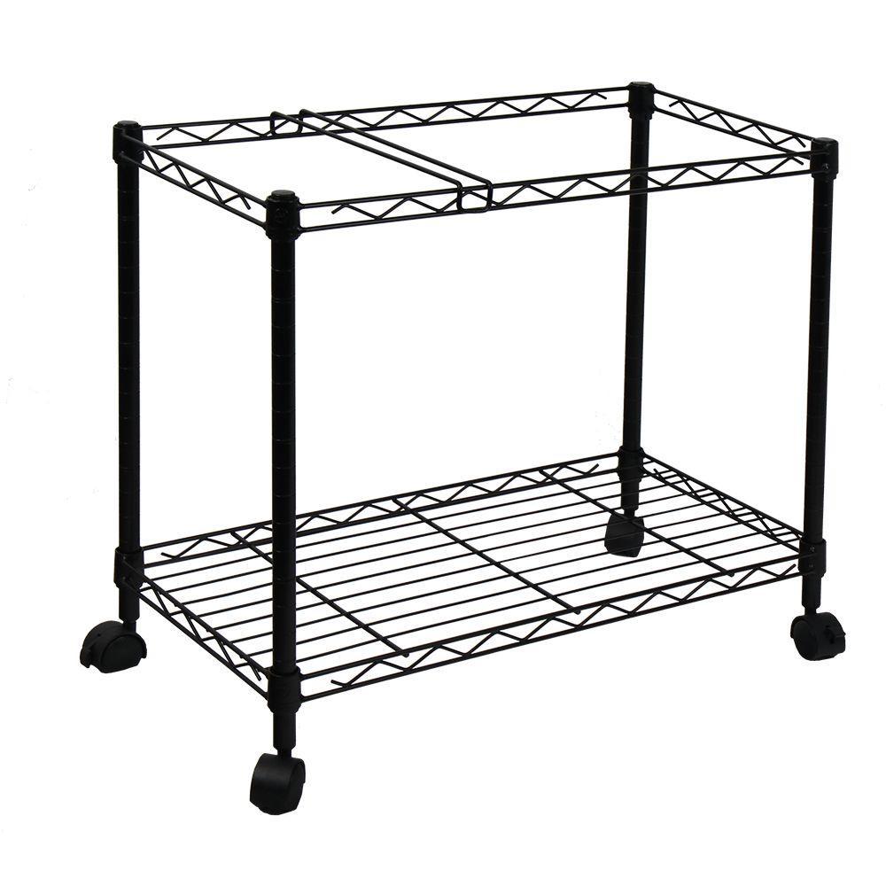 Oceanstar Portable 1 Tier Metal Rolling File Cart In Black